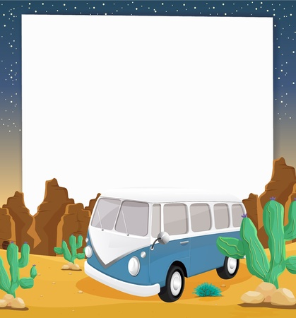 Illustration of camper van in the desert Vector