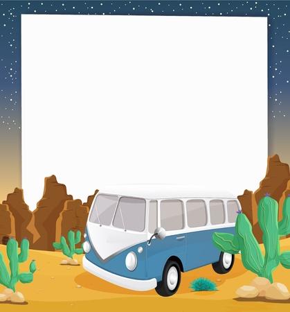 top down car: Illustration of camper van in the desert