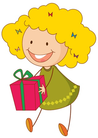 Illustration of girl with a gift Stock Vector - 13667341