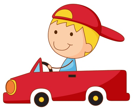 backwards: Illustration of a boy in a car