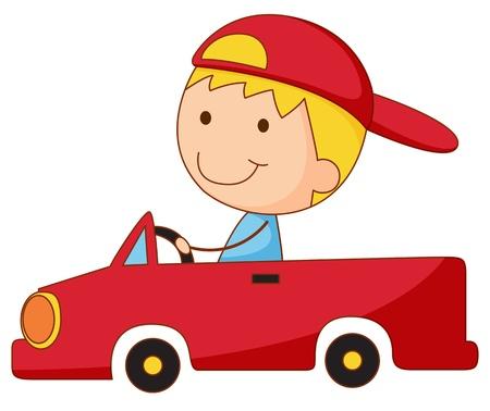 Illustration of a boy in a car