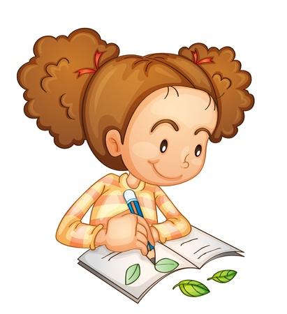 観察: 勉強していた少女のイラスト  イラスト・ベクター素材