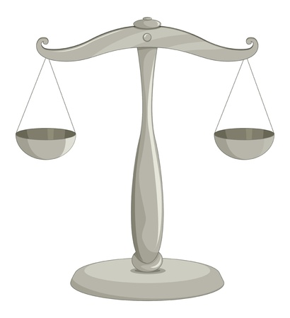 fair trial: Illustration of scales of justice Illustration