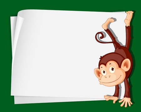 Illustration of a comical monkey on paper Stock Vector - 13667446