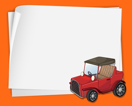 Illustration of an old car on paper Vector