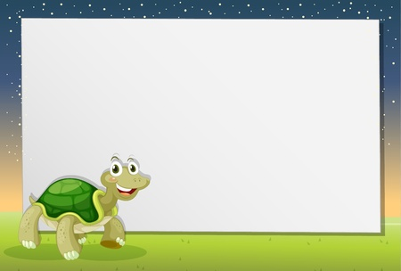 Illustration of a turtle on paper Vector