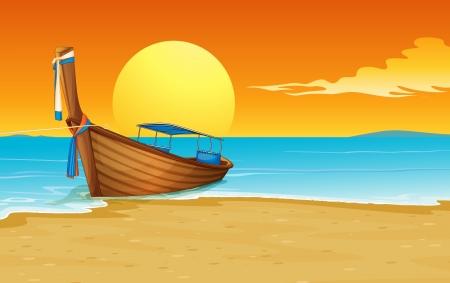 Illustratie van een Thaise boot op het zand Vector Illustratie