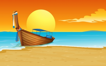 Illustration of a thai boat on the sand