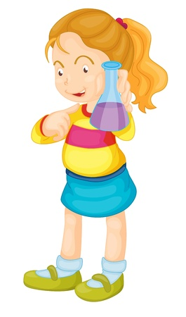 Illustration of a girl showing a flask Vector