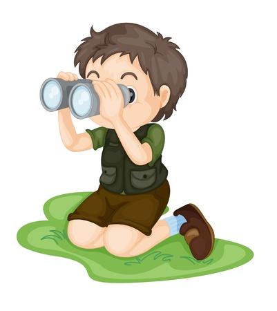 kijker: Illustratie van de jongen met behulp van een verrekijker