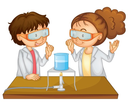 Illustration of 2 children doing science