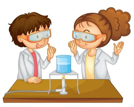 gas burners: Illustration of 2 children doing science