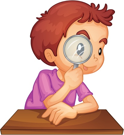 magnifying glass: Illustration of a boy using a magnifying glass
