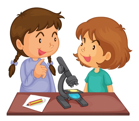 Illustratie van 2 meisjes met behulp van een microscoop