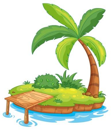 diminuto: Ilustraci�n de una peque�a isla Vectores