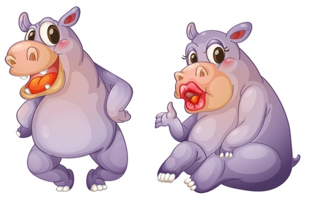 Illustration of 2 female hippos Vector