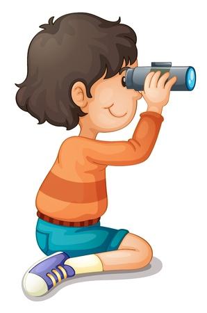 kijker: Illustratie van een jongen met behulp van een verrekijker