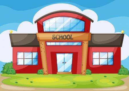 Illustratie van een moderne school Vector Illustratie