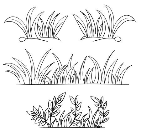 Illustration von Gras und Pflanzen Umrisse