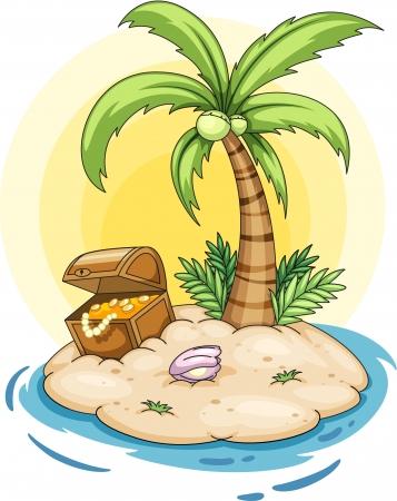 isla del tesoro: Ilustración de una isla desierta Vectores