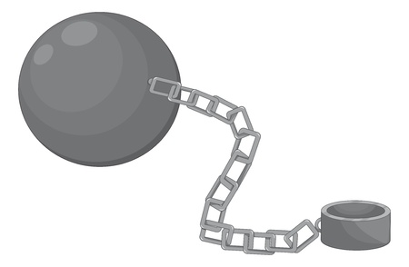 ball and chain: Illustration of a ball and chain