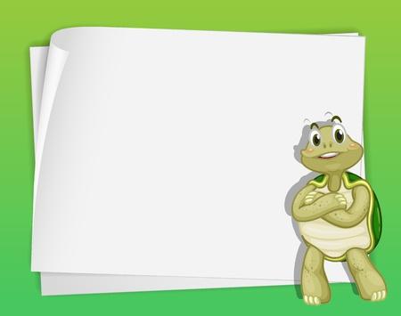 schildkröte: Cartoon Papier Vorlage einer Schildkröte