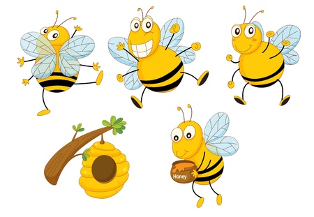 Illustration of a set of funny bees Vector