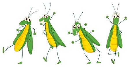 Illustratie van een reeks van grappige sprinkhaan