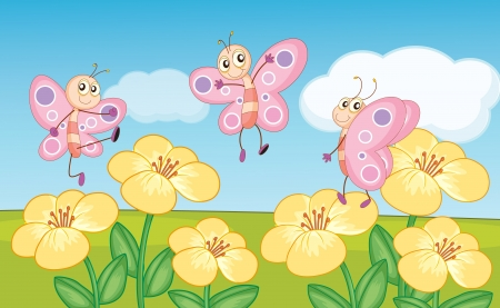 pollinators: illustration of butterflies on flowers Illustration
