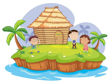 illustration of  kids waiting for a toilet Vector