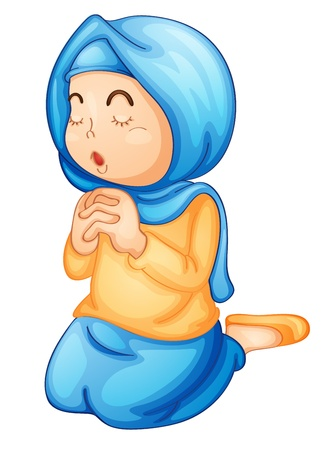 inginocchiarsi: Illustrazione di una ragazza musulmana che prega Vettoriali