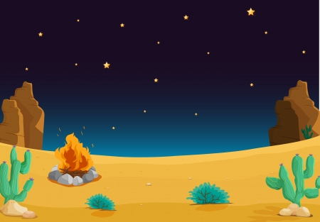 illustration of a desert with a fire at night