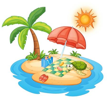 illustratie van een schildpad op een eiland