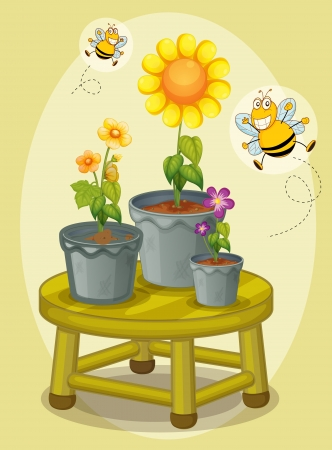 pollinators: illustration of pot plants and bees
