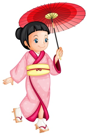illustration of a japanese geisha Vector
