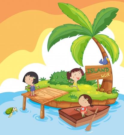 illustrazione di bambini in un'isola