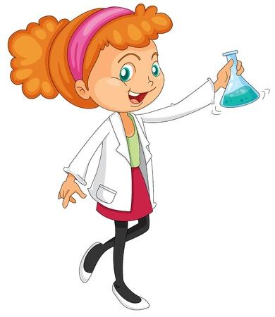 scienziati: illustrazione di una donna giovane isolato su bianco Vettoriali