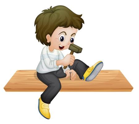 carpentry cartoon: illustration of a boy hammering