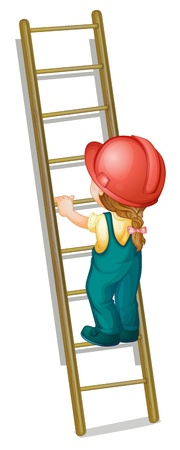 illustration of a kid going up a ladder
