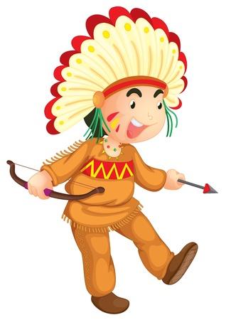 illustratie van een jonge indiaan Vector Illustratie