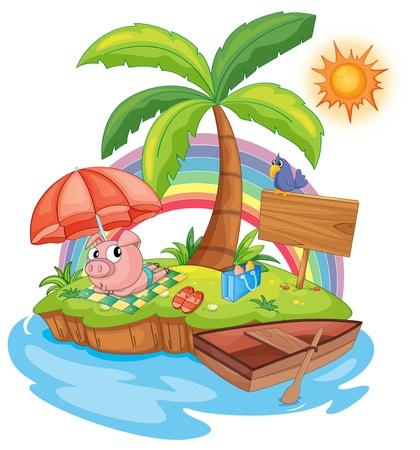 illustratie van een varken zon bakken