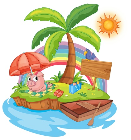 illustration of a pig sun baking Vector