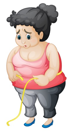 illustration of a worried fat woman Vector