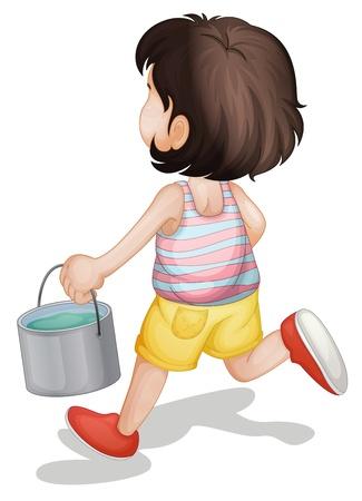 enfant portant un seau de peinture