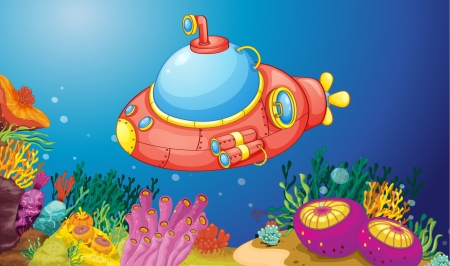 water weed: illustration of a submarine underwater