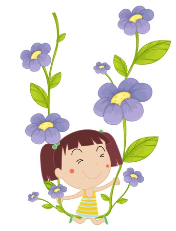 illustration of a girl on flowers Vector