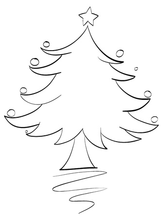 tree outline: illustration of an xmas tree outline