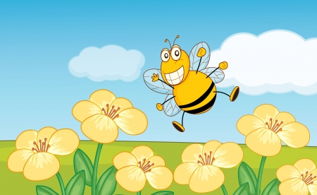 Illustration of a bee over flowers