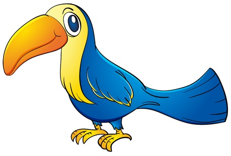 large bird: Illustration of a blue toucan
