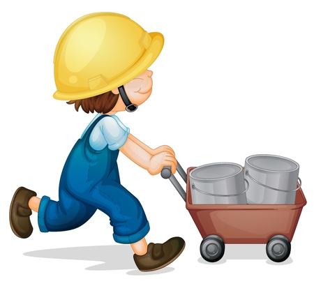 ni�o empujando: Ilustraci�n de un trabajador ni�o